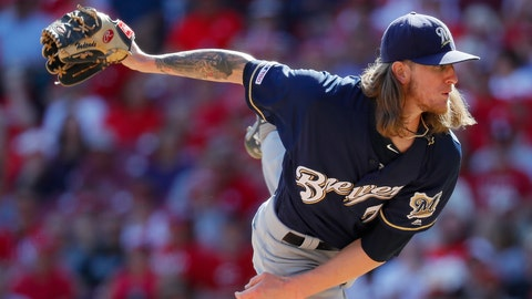 <p>               Milwaukee Brewers relief pitcher Josh Hader throws in the ninth inning of a baseball game against the Cincinnati Reds, Thursday, Sept. 26, 2019, in Cincinnati. (AP Photo/John Minchillo)             </p>