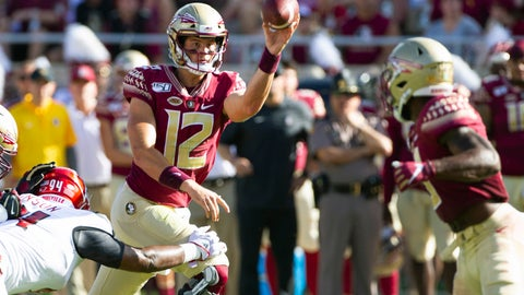 <p>               Florida State quarterback Alex Hornibrook (12) passes underneath to running back Cam Akers (3) in the first half of an NCAA college football game against Louisville in Tallahassee, Fla., Saturday, Sept. 21, 2019.             </p>