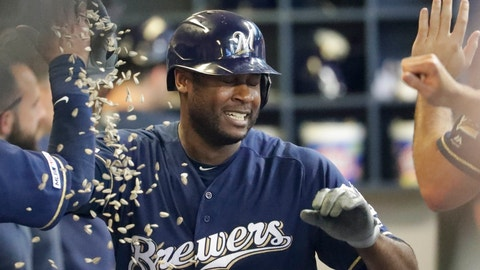 <p>               Milwaukee Brewers' Lorenzo Cain is congratulated after hitting a home run during the fourth inning of a baseball game against the San Diego Padres Thursday, Sept. 19, 2019, in Milwaukee. (AP Photo/Morry Gash)             </p>
