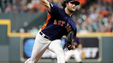 <p>               Houston Astros' Gerrit Cole throws against the Seattle Mariners during the first inning of a baseball game Sunday, Sept. 8, 2019, in Houston. (AP Photo/David J. Phillip)             </p>