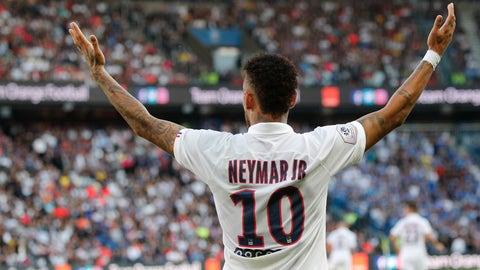 <p>               PSG's Neymar during the French League One soccer match between Paris Saint Germain and Strasbourg at the Parc des Princes Stadium in Paris, France, Saturday Sept.14, 2019. (AP Photo/Francois Mori)             </p>