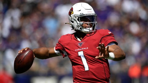 <p>               Arizona Cardinals quarterback Kyler Murray throws to a receiver in the first half of an NFL football game against the Baltimore Ravens, Sunday, Sept. 15, 2019, in Baltimore. (AP Photo/Nick Wass)             </p>