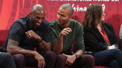 <p>               Former NBA players Kobe Bryant, left, and Tony Parker talk during the first-place match between Spain and Argentina in the FIBA Basketball World Cup at the Cadillac Arena in Beijing, Sunday, Sept. 15, 2019. (AP Photo/Ng Han Guan)             </p>