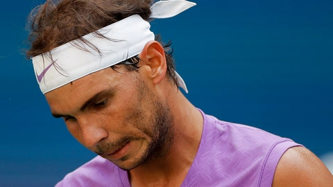 <p>               Rafael Nadal, of Spain, reacts after losing a point to Hyeon Chung, of South Korea, during round three of the US Open tennis championships Saturday, Aug. 31, 2019, in New York. (AP Photo/Eduardo Munoz Alvarez)             </p>