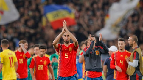 <p>               Spain's Sergio Busquets applauds spanish fans during the Euro 2020 group F qualifying soccer match between Romania and Spain, at the National Arena stadium in Bucharest, Romania, Thursday, Sept. 5, 2019. (AP Photo/Vadim Ghirda)             </p>