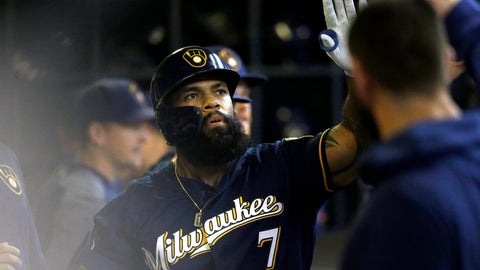 <p>               Milwaukee Brewers' Eric Thames is congratulated in the dugout after hitting a solo home run during the fourth inning of a baseball game against the Pittsburgh Pirates, Sunday, Sept. 22, 2019, in Milwaukee. (AP Photo/Aaron Gash)             </p>