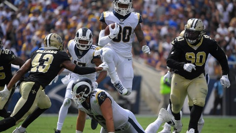 <p>               Los Angeles Rams running back Todd Gurley jumps over offensive tackle Rob Havenstein during the second half of an NFL football game against the New Orleans Saints Sunday, Sept. 15, 2019, in Los Angeles. (AP Photo/Mark J. Terrill)             </p>
