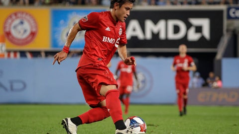 <p>               Toronto FC's Tsubasa Endoh (31) looks to pass during the second half of an MLS soccer match against New York City FC Wednesday, Sept. 11, 2019, in New York. The game ended in a 1-1 draw. (AP Photo/Frank Franklin II)             </p>