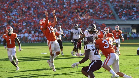 <p>               Clemson's Tanner Muse (19) makes an interception during the second half of an NCAA college football game against Texas A&M Saturday, Sept. 7, 2019, in Clemson, S.C. (AP Photo/Richard Shiro)             </p>