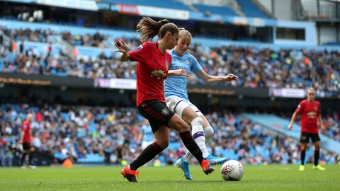 <p>               Manchester City's Janine Beckie, right, and Manchester United's Abbie McManus battle for the ball during the Women's Super League soccer match at the Etihad Stadium, Manchester, England, Saturday Sept. 7, 2019. (Nigel French/PA via AP)             </p>