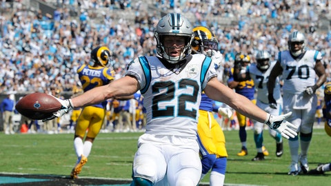 <p>               Carolina Panthers running back Christian McCaffrey (22) reacts following a touchdown against the Los Angeles Rams during the second half of an NFL football game in Charlotte, N.C., Sunday, Sept. 8, 2019. (AP Photo/Mike McCarn)             </p>