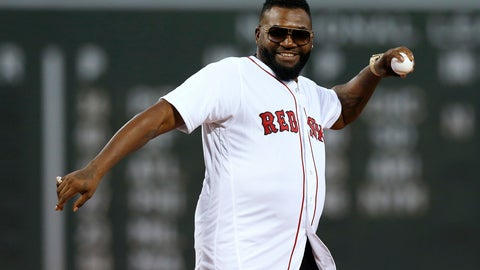 <p>               Former Boston Red Sox's David Ortiz throws out a ceremonial first pitch before a baseball game against the New York Yankees in Boston, Monday, Sept. 9, 2019. (AP Photo/Michael Dwyer)             </p>