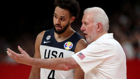 <p>               United States' coach Gregg Popovich, right instructs United States' Derrick White during a match against Brazil for the FIBA Basketball World Cup at the Shenzhen Bay Sports Center in Shenzhen on Monday, Sept. 9, 2019. (AP Photo/Ng Han Guan)             </p>