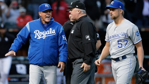 <p>               FILE - In this May 29, 2019, file photo, Kansas City Royals manager Ned Yost, left, appeals to umpire crew chief Bill Miller, center, after home plate umpire Mark Carlson ejected starting pitcher Glenn Sparkman (57) for hitting Chicago White Sox's Tim Anderson with a pitch during the second inning of a baseball game, in Chicago. Royals manager Ned Yost will be retiring at the end of the season, a year in which his team lost 100 games. His decision was announced by the team Monday, Sept. 23, 2019. (AP Photo/Charles Rex Arbogast, File)             </p>