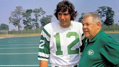 <p>               FILE - This is an undated photo showing Joe Namath, left, quarterback for the New York Jets, talking with head coach Weeb Ewbank during football practice session in 1970. As part of its celebration of its 100th season, the NFL is designating a Game of the Week, each chosen to highlight a classic matchup. For Week 2, it is the Monday night game between the Browns and Jets.  Joe Namath and Leroy Kelly were supposed to be the offensive stars in the inaugural game of pro football's prime-time telecasts. But the guys who moved the ball best were the guys in the striped shirts. The guys in the striped shirts _ the officiating crew headed by Norm Schacter _ moved the ball so well that they played a key role in Cleveland's 31-21 victory and may have played a key role in the important ratings battle against Liz, Dick and Lucy.(AP Photo/File)             </p>