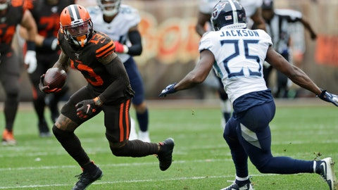 <p>               Cleveland Browns wide receiver Odell Beckham Jr. (13) avoids Tennessee Titans cornerback Adoree' Jackson (25) during the first half in an NFL football game Sunday, Sept. 8, 2019, in Cleveland. (AP Photo/Ron Schwane)             </p>