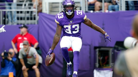 <p>               Minnesota Vikings running back Dalvin Cook (33) celebrates after a 19-yard touchdown run during the first half of an NFL football game against the Atlanta Falcons, Sunday, Sept. 8, 2019, in Minneapolis. (AP Photo/Bruce Kluckhohn)             </p>