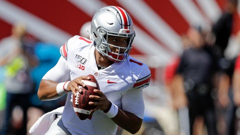 <p>               Ohio State quarterback Justin Fields (1) looks to throw during the first half of an NCAA college football game against Indiana, Saturday, Sept. 14, 2019, in Bloomington, Ind. (AP Photo/Darron Cummings)             </p>