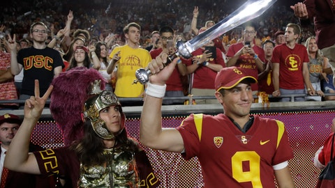 <p>               Southern California quarterback Kedon Slovis (9) celebrates after a 45-20 win over Stanford during an NCAA college football game Saturday, Sept. 7, 2019, in Los Angeles. (AP Photo/Marcio Jose Sanchez)             </p>