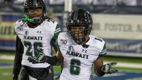 <p>               Hawaii wide receiver Cedric Byrd II (6) reacts after scoring a touchdown against Nevada in the first half of an NCAA college football game in Reno, Nev. Saturday, Sept. 28, 2019. (AP Photo/Tom R. Smedes)             </p>