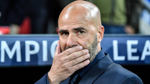 <p>               Leverkusen's head coach Peter Bosz reacts prior the Champions League Group D soccer match between Bayer Leverkusen and Lokomotiv Moscow at the BayArena in Leverkusen, Germany, Wednesday Sept. 18, 2019. (AP Photo/Martin Meissner)             </p>