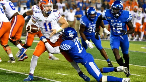 <p>               Kentucky linebacker DeAndre Square (17) tries to bring down Florida quarterback Kyle Trask (11) during the second half of an NCAA college football game in Lexington, Ky., Saturday, Sept. 14, 2019. (AP Photo/Timothy D. Easley)             </p>