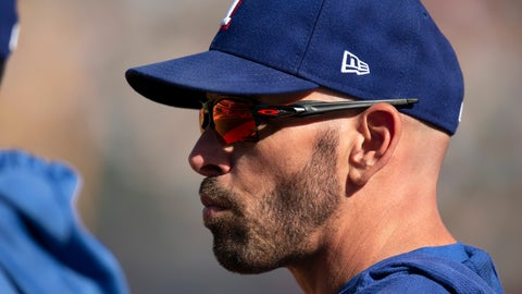 <p>               Texas Rangers manager Chris Woodward watches his team take on the Oakland Athletics during the eighth inning of a baseball game Sunday, Sept. 22, 2019, in Oakland, Calif. (AP Photo/D. Ross Cameron)             </p>