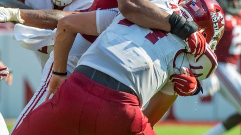 <p>               Alabama defensive lineman LaBryan Ray (89) hits New Mexico State quarterback Josh Adkins (14), causing a fumble, during the first half of an NCAA college football game Saturday, Sept. 7, 2019, in Tuscaloosa, Ala. (AP Photo/Vasha Hunt)             </p>