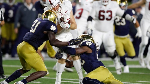 <p>               FILE - In this Sept. 29, 2018, file photo, Stanford wide receiver Trenton Irwin is stopped by Notre Dame safety Jalen Elliott (21) and linebacker Asmar Bilal during the first half of an NCAA college football game in South Bend, Ind. Notre Dame's second-year defensive coordinator Clark Lea has spent all spring, summer and preseason looking for replacements for graduated 2018 tackle leaders Te'von Coney and Drue Tranquill. In grad student Bilal and junior Drew White he may have found two of many. (AP Photo/Carlos Osorio, File)             </p>