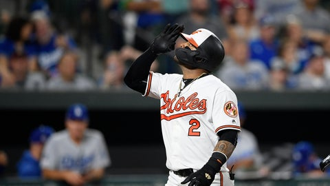 <p>               Baltimore Orioles' Jonathan Villar celebrates his three-run home run during the seventh inning of the team's baseball game against the Los Angeles Dodgers, Wednesday, Sept. 11, 2019, in Baltimore. Villar connected for the 6,106th homer in the majors this season. That topped the mark of 6,105 set in 2017. The Orioles won 7-3. (AP Photo/Nick Wass)             </p>