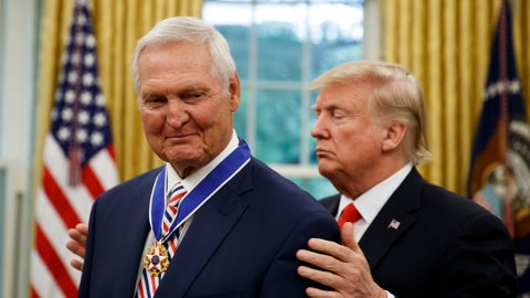 <p>               President Donald Trump, right, presents the Presidential Medal of Freedom to former NBA basketball player and general manager Jerry West, in the Oval Office of the White House, Thursday, Sept. 5, 2019, in Washington. (AP Photo/Alex Brandon)             </p>