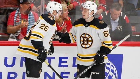 <p>               Boston Bruins center Oskar Steen, right, celebrates with center Par Lindholm, left, after scoring against the Chicago Blackhawks during the third period of a preseason NHL hockey game Saturday, Sept. 21, 2019, in Chicago. (AP Photo/Kamil Krzaczynski)             </p>