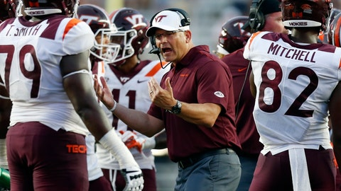 <p>               Virginia Tech head coach Justin Fuente talks to his team during the second half of an NCAA college football game against Boston College in Boston, Saturday, Aug. 31, 2019. (AP Photo/Michael Dwyer)             </p>