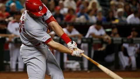 <p>               St. Louis Cardinals' Paul Goldschmidt connects for a two-run home run against the Arizona Diamondbacks during the third inning of a baseball game Monday, Sept. 23, 2019, in Phoenix. (AP Photo/Ross D. Franklin)             </p>