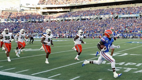 <p>               Florida wide receiver Kadarius Toney, right, runs past the Miami defense on a 66-yard touchdown reception during the first half of an NCAA college football game Saturday, Aug. 24, 2019, in Orlando, Fla. (AP Photo/John Raoux)             </p>