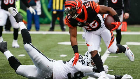 <p>               FILE - In this Dec. 16, 2018, file photo, Cincinnati Bengals running back Giovani Bernard (25) breaks a tackle from Oakland Raiders defensive end Arden Key (99) in the first half of an NFL football game in Cincinnati. The Bengals signed Bernard to a two-year contract extension Tuesday, Sept. 3, 2019, through the 2021 season. He could have become a free agent after this season. (AP Photo/Frank Victores, File)             </p>