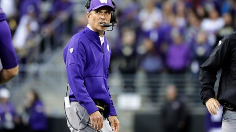 <p>               Washington head coach Chris Petersen talks on his headset during the second half of an NCAA college football game against Hawaii, Saturday, Sept. 14, 2019, in Seattle. Washington won 52-20. (AP Photo/Ted S. Warren)             </p>