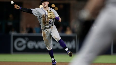 <p>               Colorado Rockies shortstop Trevor Story throws to first for an out against San Diego Padres' Luis Urias during the fourth inning of a baseball game Friday, Sept. 6, 2019, in San Diego. (AP Photo/Gregory Bull)             </p>