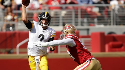 <p>               Pittsburgh Steelers quarterback Mason Rudolph (2) passes as he is pressured by San Francisco 49ers defensive end Arik Armstead during the second half of an NFL football game in Santa Clara, Calif., Sunday, Sept. 22, 2019. (AP Photo/Ben Margot)             </p>