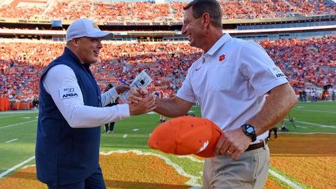 <p>               Clemson coach Dabo Swinney, right, greets Georgia Tech coach Geoff Collins before an NCAA college football game Thursday, Aug. 29, 2019, in Clemson, S.C. (AP Photo/Richard Shiro)             </p>
