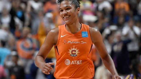 <p>               Connecticut Sun's Alyssa Thomas smiles after a basket during the second half of a WNBA basketball playoff game against the Los Angeles Sparks, Tuesday, Sept. 17, 2019, in Uncasville, Conn. (AP Photo/Jessica Hill)             </p>