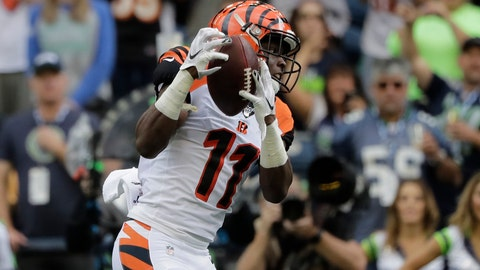 <p>               FILE - In this Sept. 8, 2019, file photo, Cincinnati Bengals wide receiver John Ross makes a catch for a touchdown during the first half of an NFL football game against the Seattle Seahawks, in Seattle. After two disappointing seasons cut short by injuries and a missed training camp, Bengals receiver John Ross has his breakout game, one of the most encouraging things for Cincinnati in its opener. (AP Photo/John Froschauer, File)             </p>