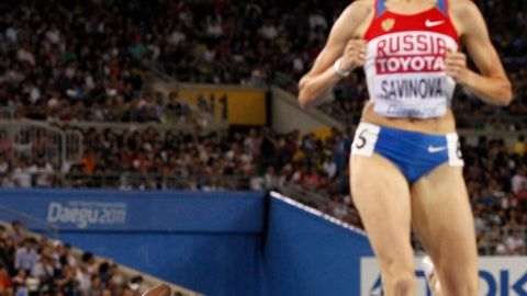<p>               FILE - In this Sept. 4, 2011, file photo, Alysia Montano, of the United States, left, falls as she crosses the finish line in fourth place as Russia's Mariya Savinova, right, celebrates winning the Women's 800m final at the World Athletics Championships in Daegu, South Korea. On Monday, Sept. 30, 2019, Montano walked off the track at the World Championships in Doha, Qatar, with a pair of bronze medals that were placed around her neck several years too late. The U.S. 800-meter runner who has stood up on behalf of every athlete who has ever kept off the medals stand by a doper finally got the third-place prizes she was robbed of at two straight worlds, back in 2011 and 2013.(AP Photo/Anja Niedringhaus, File)             </p>