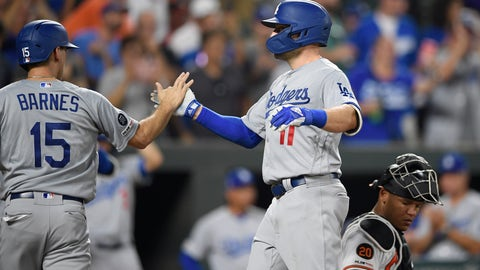 <p>               Los Angeles Dodgers' A.J. Pollock celebrates his two-run with Austin Barnes (15) during the sixth inning of a baseball game as Baltimore Orioles catcher Pedro Severino kneels at right, Wednesday, Sept. 11, 2019, in Baltimore. (AP Photo/Nick Wass)             </p>