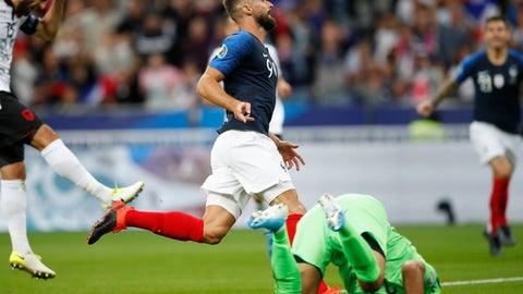 <p>               France's Olivier Giroud celebrates as he scores during the Euro 2020 group H qualifying soccer match between France and Albania at the Stade de France in Saint Denis, north of Paris, France, Saturday, Sept. 7, 2019. (AP Photo/Christophe Ena)             </p>