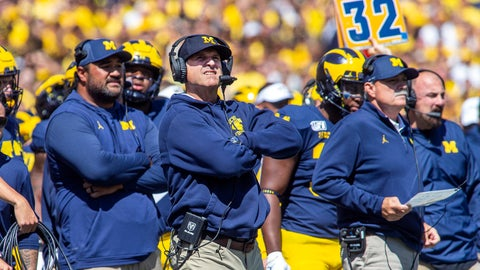 <p>               Michigan head coach Jim Harbaugh, center, reacts looking up at the scoreboard in the second quarter of an NCAA football game against Army in Ann Arbor, Mich., Saturday, Sept. 7, 2019. (AP Photo/Tony Ding)             </p>