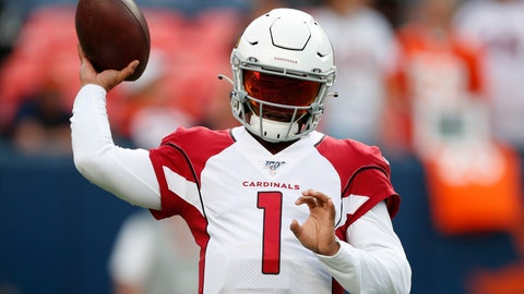 <p>               Arizona Cardinals quarterback Kyler Murray (1) warm up prior to an NFL preseason football game against the Denver Broncos, Thursday, Aug. 29, 2019, in Denver. (AP Photo/David Zalubowski)             </p>