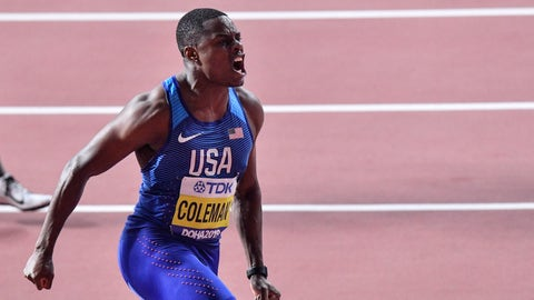 <p>               Christian Coleman, of the United States, reacts after winning the men's 100 meter race during the World Athletics Championships in Doha, Qatar, Saturday, Sept. 28, 2019. (AP Photo/Martin Meissner)             </p>
