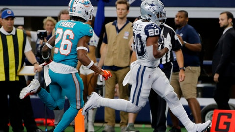 <p>               Dallas Cowboys running back Tony Pollard (20) gets past Miami Dolphins defensive back Steven Parker (26) into the end zone for a touchdown in the second half of an NFL football game in Arlington, Texas, Sunday, Sept. 22, 2019. (AP Photo/Michael Ainsworth)             </p>