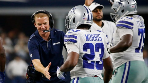 <p>               Dallas Cowboys head coach Jason Garrett, left, celebrates with Alfred Morris (23) after Morris carried the ball for a touchdown agains the Houston Texans in the first half of a preseason NFL football game in Arlington, Texas, Saturday, Aug. 24, 2019. (AP Photo/Ron Jenkins)             </p>
